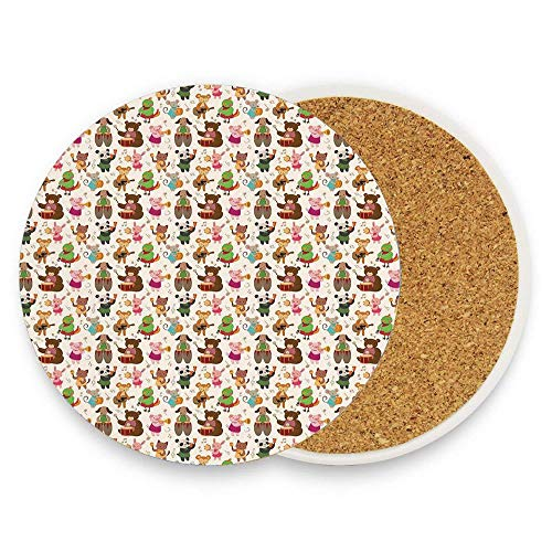 (Toys Playing in A Band Teddy Bear Drums Absorbent Ceramic Drink Coasters, Prevents Furniture and Tabletop Damages,Home Bar Decor)