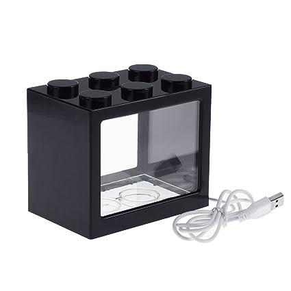 vorcool Acuario Juego completo pescado Platillos USB Mini acuario con LED Oficina Desktop Home Decor, Negro , 12 x 8 x 10,5 cm