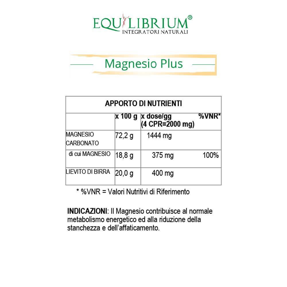 EQUILIBRIUM - INTEGRATORI NATURALI Magnesio más 100 tabletas de 500 mg: Amazon.es: Salud y cuidado personal