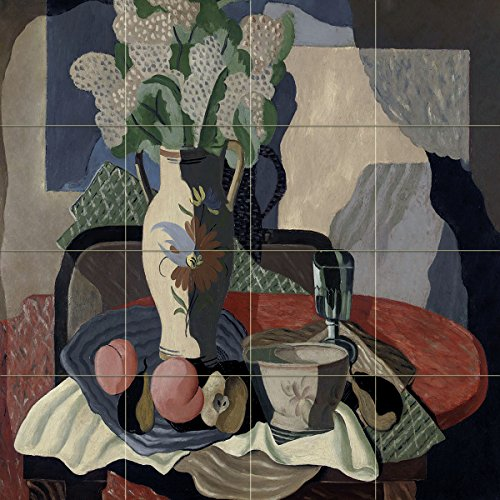 STILL LIFE by Renato Paresce vase flowers glass fruit Tile Mural Kitchen Bathroom Wall Backsplash Behind Stove Range Sink Splashback 4x4 6'' Ceramic, Glossy by FlekmanArt
