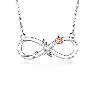 726041906f1e3 BlingGem Women's 18K White Gold-Plated 925 Sterling Silver Infinity Rose  Pendant Necklace,18 Inch