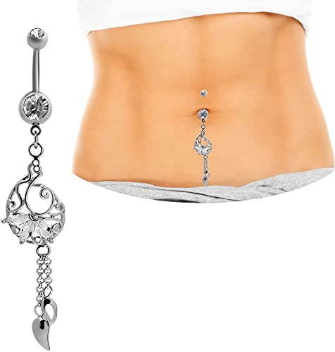 18K Gold Plated Long Dangle Navel Belly Ring Piercing Surgical Steel BodyJewelry