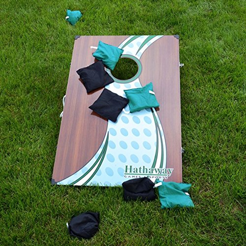 HATHAWAY Cornhole Bean Bag Toss Game Set, Brown by HATHAWAY