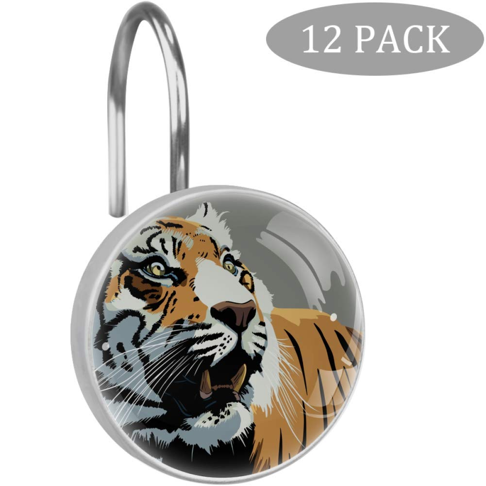 LORVIES Tiger Animal Stare Teeth Wild Shower Curtain Hooks Set of 12, Stainless Steel Shower Hooks Decorative Hanger Rings Rust Resistant for Bathroom Kids Room Fashion Home Decor