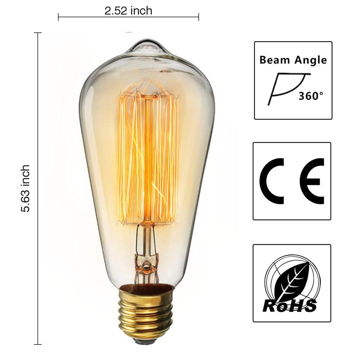 KINGSO Vintage Edison Bulbs 40W Squirrel Cage Filament Incandescent Antique Light Bulb for Home Light Fixtures E27 Base ST64 110V - 12 Pack