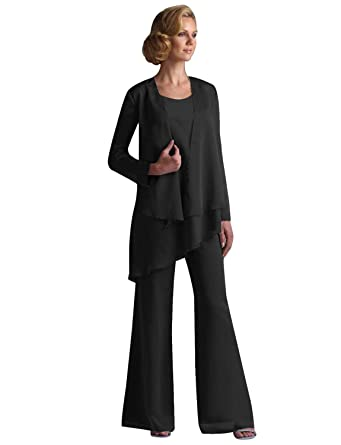 ff02ae41a1606 Chiffon Mother of The Bride Pant Suits with Jacket 3 PCS at Amazon ...