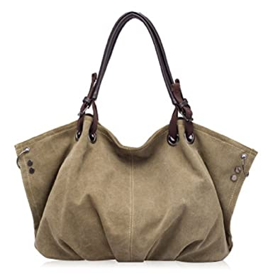 Amazon.com  Woman Canvas Tote Bag Shoulder Bag Light Brown Synthetic leather  with Strap  Clothing c0e17b8c77acc