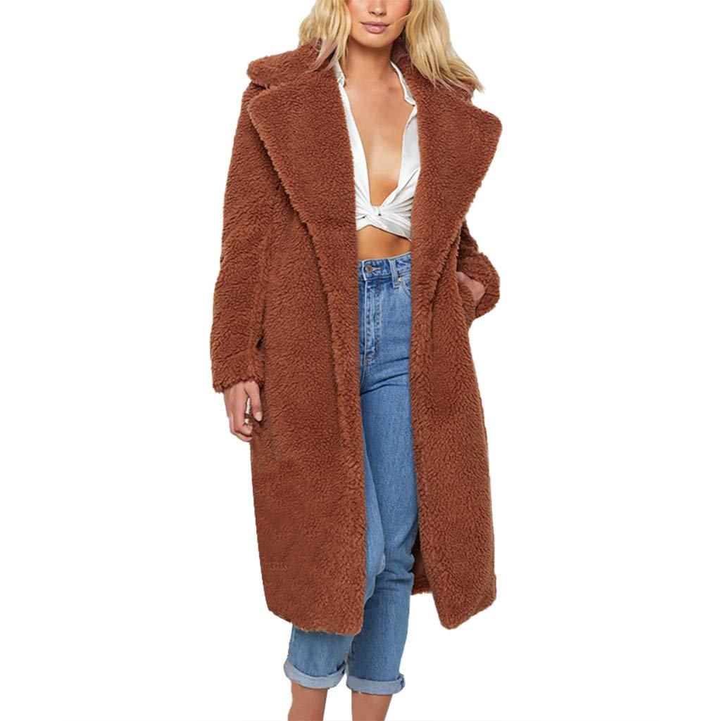 Fuax Fur Jacket Womans, HOSOME Womens Ladies Warm Faux Fur Coat Jacket Winter Solid Long Parka Outerwear Brown by HOSOME Women Top