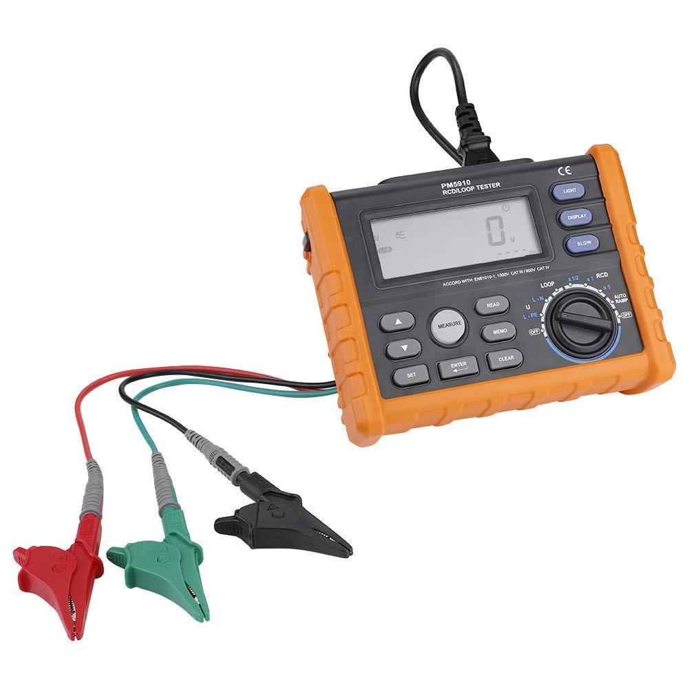 pm5910 digital resistance meter gfci rcd loop tester leakage switch