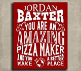 Amazing Pizza Maker Custom Plaque Tin Sign Gift for Italian Chef Pizza Lover Foodie Kitchen Typography Personalized Metal Art Print #1263 offers