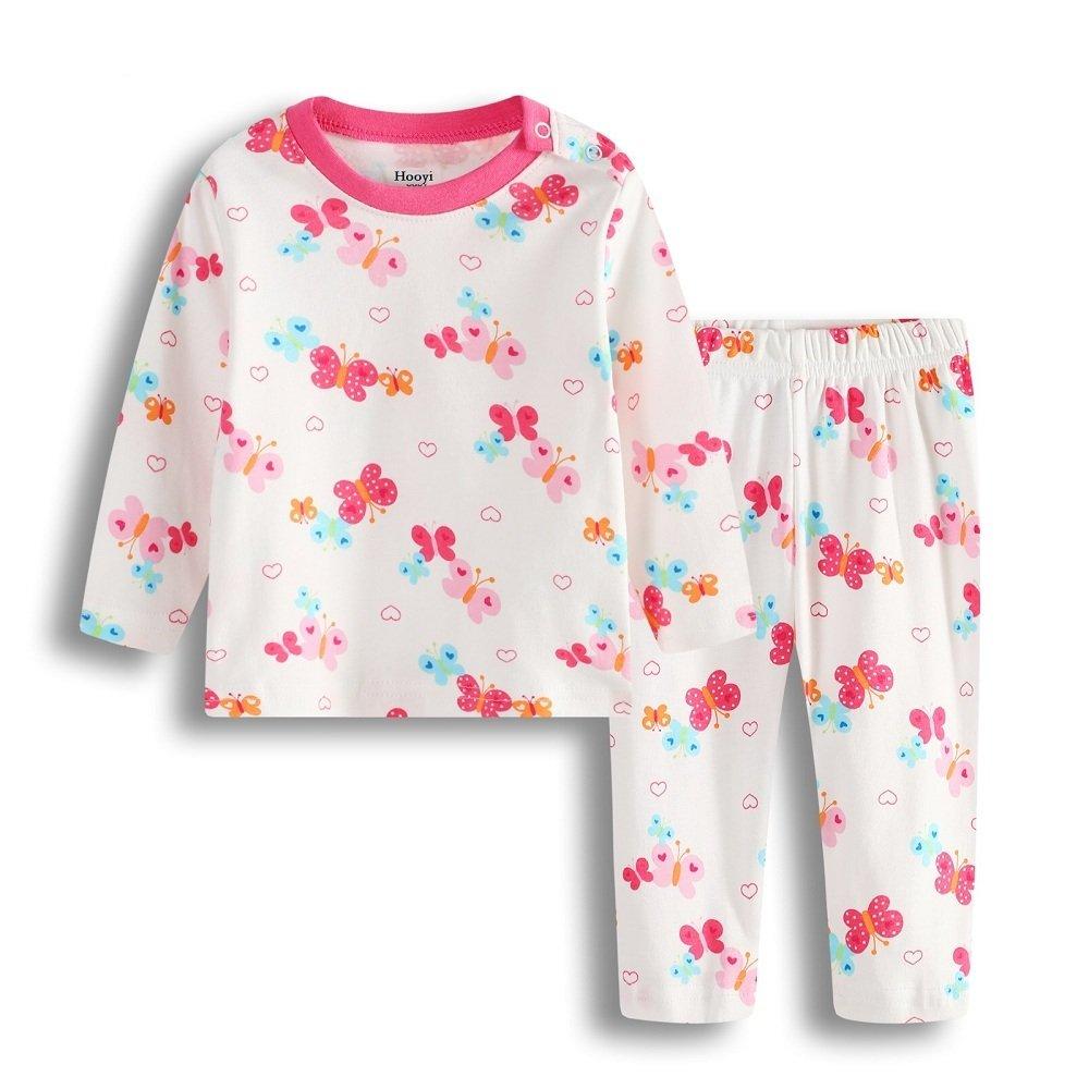 Hooyi Baby Girl Long Sleeve Sleepwear Cotton Butterfly Pajamas Set