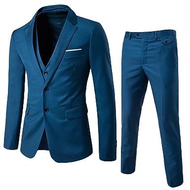14c035fd5f03 Allthemen Herren 3-Teilig Slim Fit Anzug Zwei Knöpfe Business Sakko   Amazon.de  Bekleidung