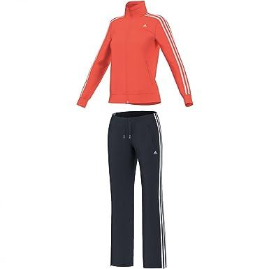 adidas Women s Essentials 3-Stripes Knit Suit Negro Carbon Mix ...