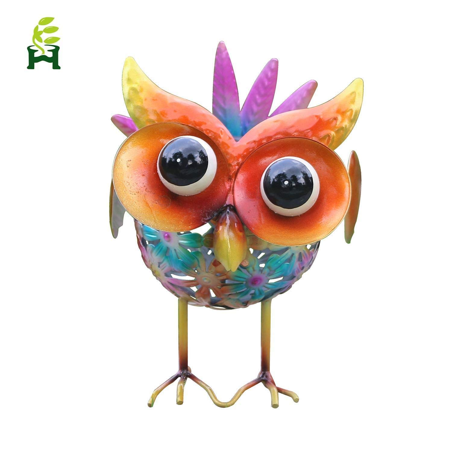 EH-GARDEN Solar Metal Owl Seven Color Changing Lights, Outdoor Solar Powered LED Garden Light, Road Decoration