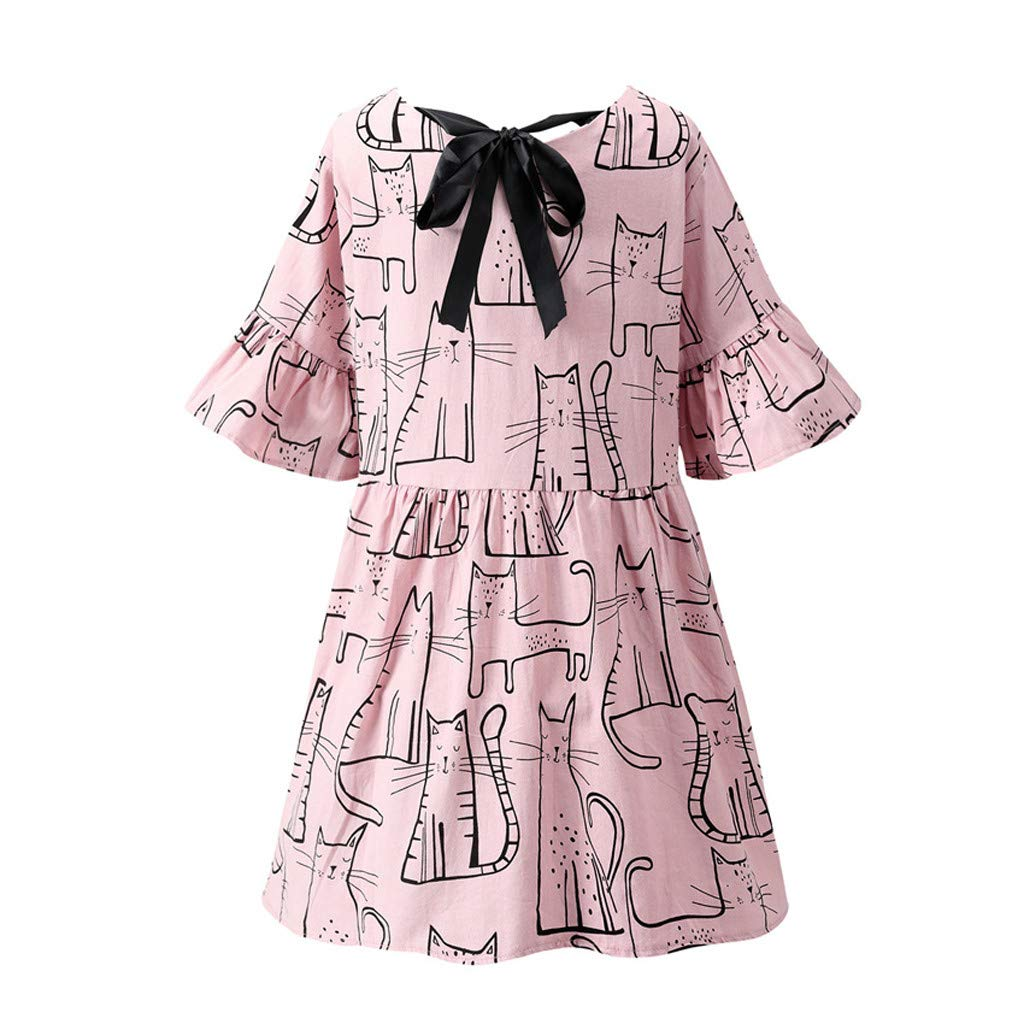 LONGDAY Women Summer Dress Cotton Linen T-Shirt Crew Neck Print Shirt Mini Dress Plus Size Comfy Top Swing Loose Blouse Pink