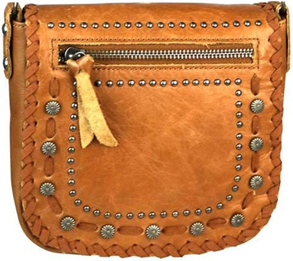Montana West Genuine Leather Handcrafted Crossbody Handbag Purse Light Bundle
