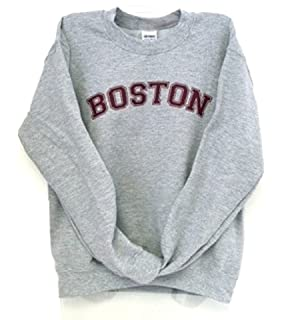 Amazon com: Boston Sweatshirt in Navy Blue with Gray Boston