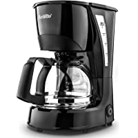 Coffee Maker Barsetto 5 Cup Coffee Machine Plastic Silent Drip Coffeemaker with Coffee Pot and Filter for Home Office