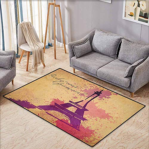 - Rectangular Rug,Eiffel Tower,French Cursive Wordprint Eiffel Doodle Silhouette Pastel Splash Retro Print,Large Area mat,3'11