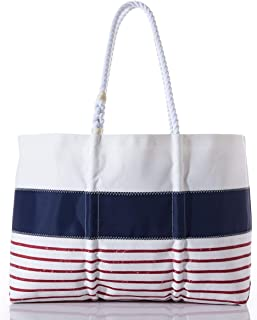 product image for Red Mariner Stripe Tote Recycled Sail Cloth with Rope Handles