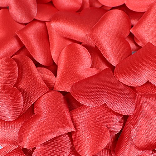 - 500 Pcs Heart Shape Petals Wedding Valentines Decoration Party Supply (Red)