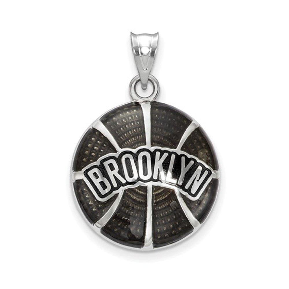 LogoArt NBA Brooklyn Nets Large Disc Pendant in Sterling Silver