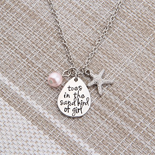 ENSIANTH Toes In The Sand Kind of Girl Engraved Charms Necklace Beach Jewelry with Starfish (waterdrop necklace) by ENSIANTH (Image #3)