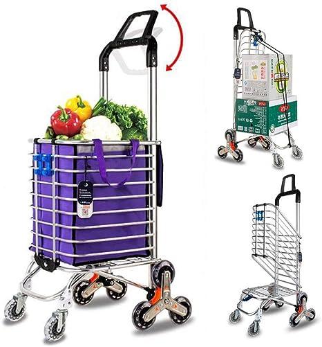 Servicio de lavandería de ultramarinos Carrito de compras plegable Carro, Aleación de aluminio Escalera de 8 ruedas, Capacidad de carga 50 kg, Bolsa de almacenamiento de cuerda de equipaje de gancho: Amazon.es: