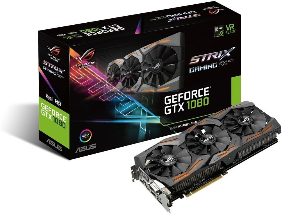 Amazon Com Asus Geforce Gtx 1080 8gb Rog Strix Graphics Card Strix Gtx1080 A8g Gaming Computers Accessories