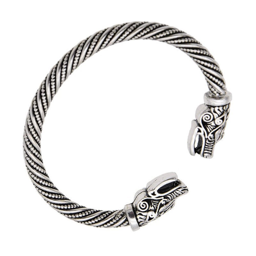 Allura Dragon Head Wristband Viking Jewelry Antique Cuff Bracelets for Men//Women