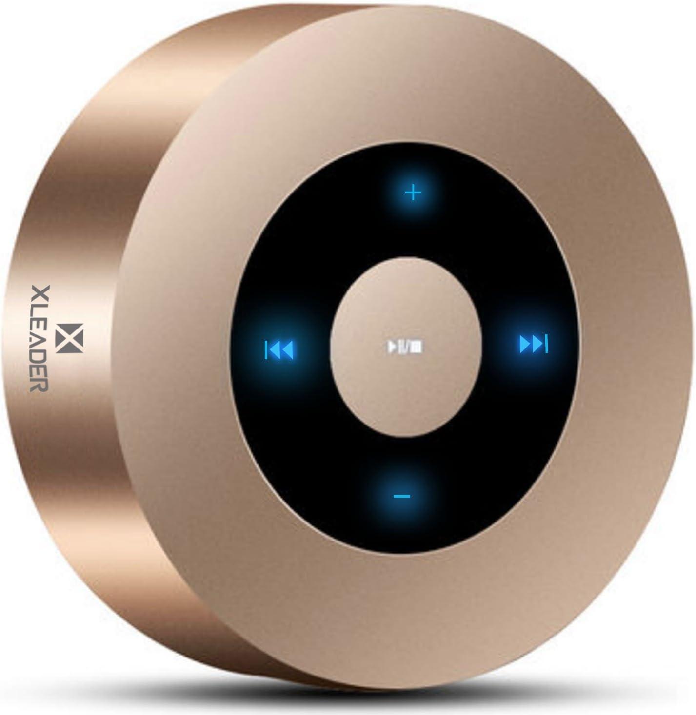 [Diseño LED Tacto] Altavoz Bluetooth, XLEADER Altavoces Bluetooth Portátiles con Sonido HD/12-15 Horas de reproducción/Soporte Micro SD, para iPhone,Samsung,iPad,Tableta,Laptop,MacBook,Echo Dot (Oro)