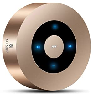 [LED Touch Design] XLEADER SoundAngel A8 (2nd Gen) Wireless Bluetooth Speaker with 5W HD Sound/15-Hour Playtime/Micro SD Support,for iPhone/Samsung/Tablet/Laptop,Gold [Official Carry Case Included]