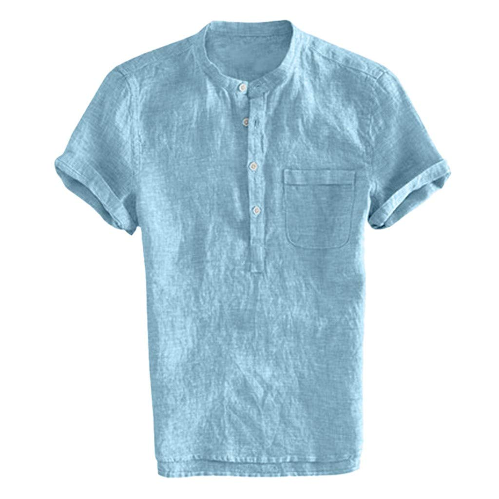 Mens Baggy Cotton Linen Solid Color Short Sleeve Retro T Shirts Tops Blouse Mens T Shirts