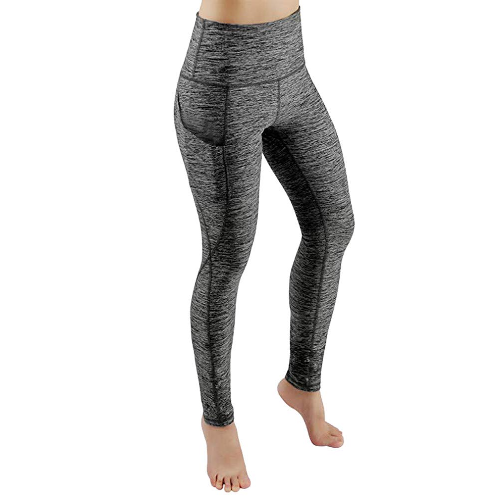 Zalanala Women Workout Athletic Leggings Fitness Sports Gym Running Yoga Pants with Pocket (S, Gray)