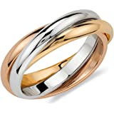 Jewellery Triple band 9ct 1.5mm Rose, White & Yellow Gold - Russian Style Wedding Ring - Highly Polished