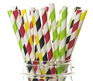 Race Car Straws, Racing Cars Party Supplies (25 Pack) - Indy 500 Race Car Party Decorations, Driving Stoplight Straws, Racecar Cars Birthday Party Straws