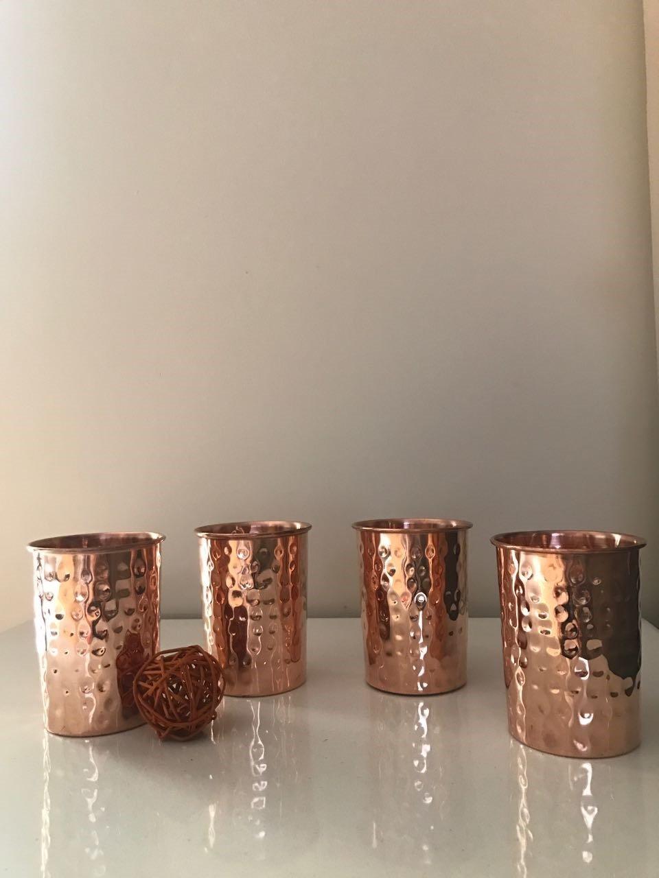 Zap Impex /®/ /Vasos de Cristal de Cobre amartillado 100/% Cobre Puro zuhaltung ayurvedischen curativas