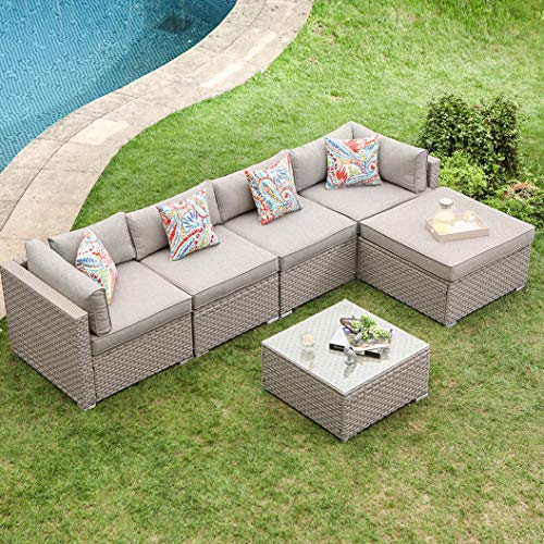 COSIEST 6-Piece Warm Gray Outdoor Wicker Family Sectional Sofa w Coffee Table, one Ottoman and Four Floral Fantasy Pillows