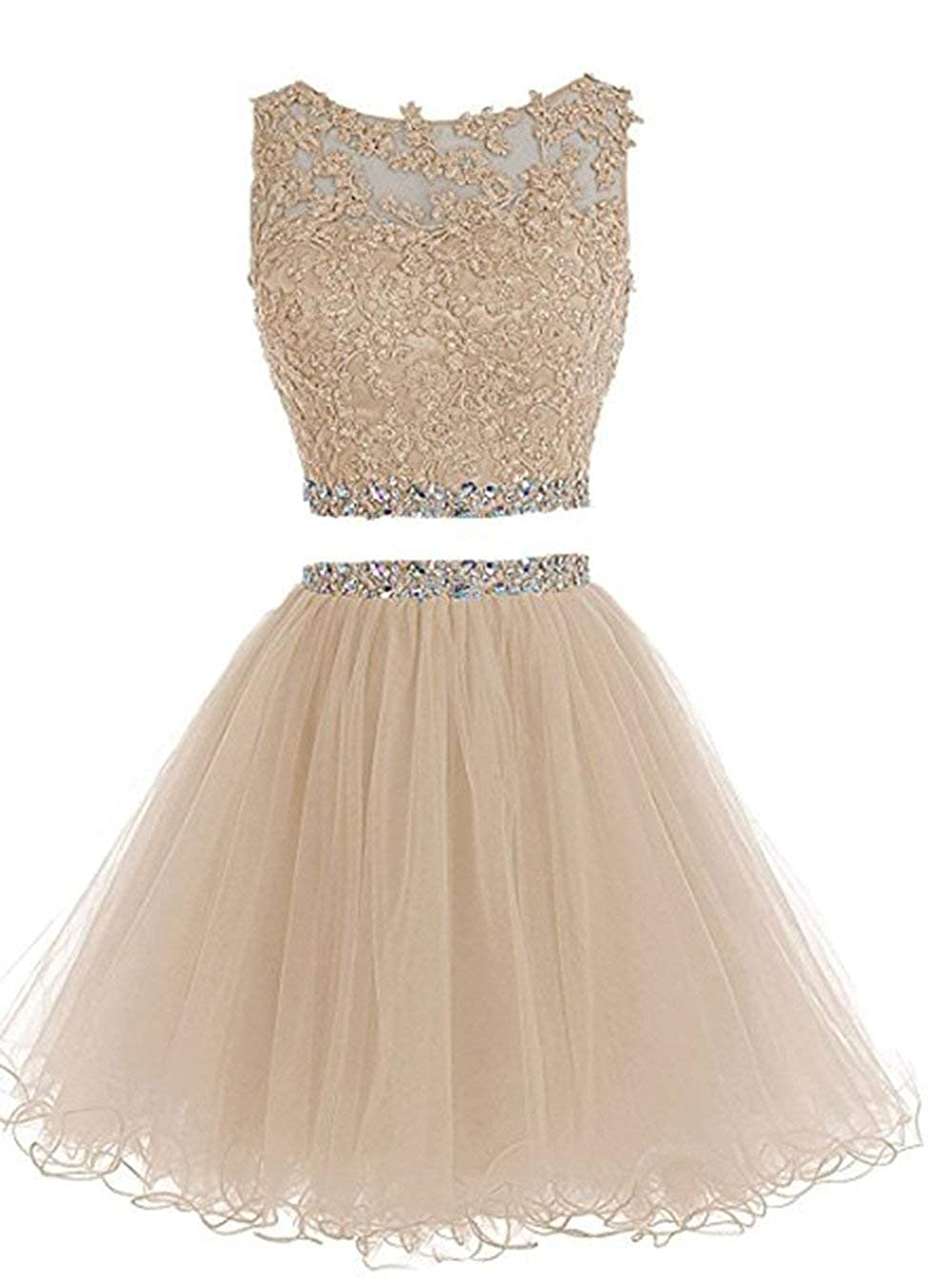 Champagne Clothfun Women's Short Beaded 2 Piece Homecoming Dresses Tulle Prom Dress Cocktail Party Gown 042
