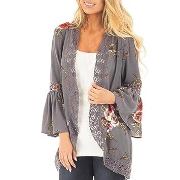 kimono verano abierto mujer Sannysis cardigans mujer mujer en malla kimono mujer larga elegante chaquetas de mujer abierto flores: Amazon.es: Deportes y ...