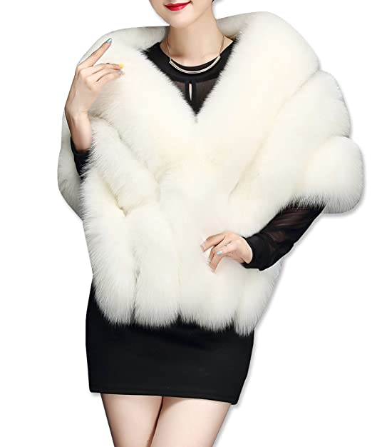 KAXIDY Mujer Ropa de Abrigo Piel Sintética Ponchos Capas Ropa de Abrigo Chaquetas (Blanco)