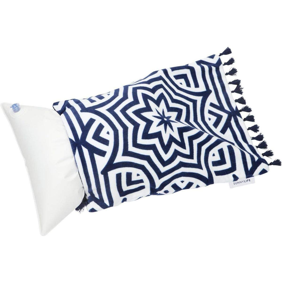 SunnyLIFE Beach Inflatable Air Pillow with Plush Cover for Sunbathing