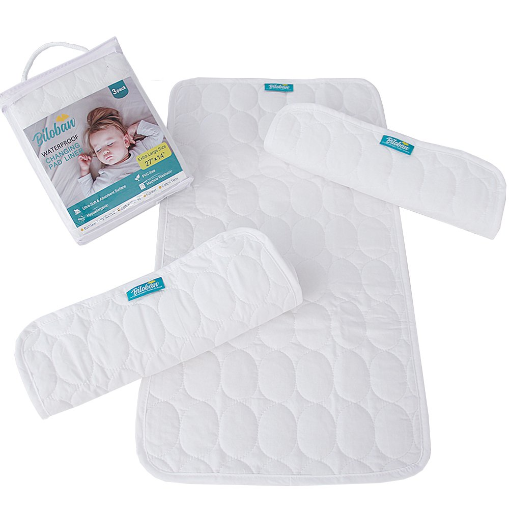 Changing Pad Liners -100% Waterproof, Baby Skin Friendly, Absorbant Cotton Quilted, Baby Diaper Changing Cover Mat, 3 Count, Larger in 27'' x 14'', White