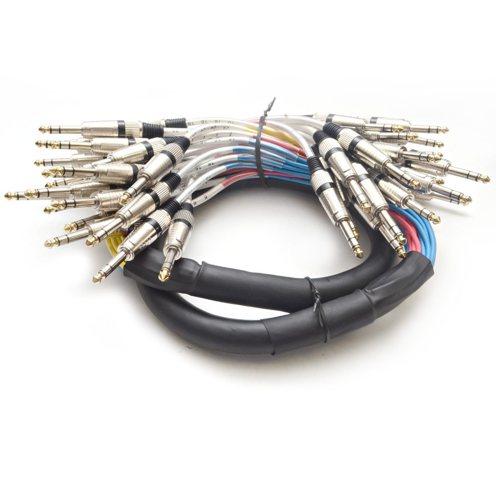 Seismic Audio - SASRT-24x5 - 24 Channel 1/4'' TRS Snake Cable - 5 Feet Long - Serviceable Ends - Pro Audio Effects Snake for Live Live, Recording, Studios, and Gigs - Patch, Amp, Mixer, Audio Interface 5'