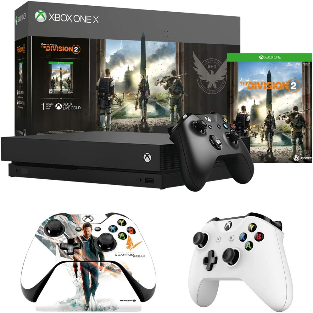 Microsoft Xbox One X 1TB Console w/Tom Clancy's The Division 2 Bundle (CYV-00255) Xbox Wireless Controller, White + Xbox ONE Official Quantum Break Controller Stand