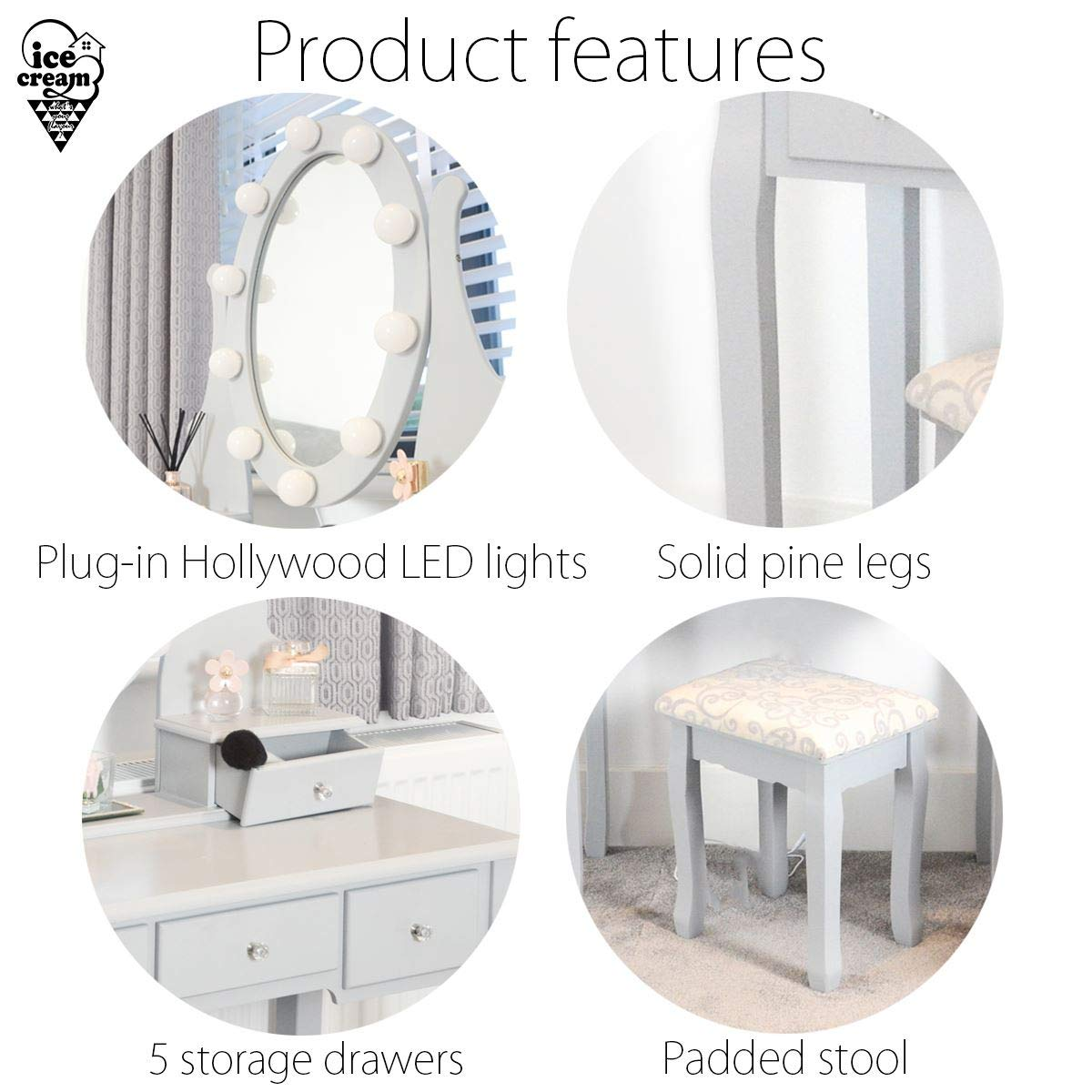 IceCreamLiving Ruby Rozanna Grey Hollywood Dressing Table with LED Lights /& Vanity Mirror Stool 5 Drawers For Bedroom Makeup Jewellery Storage Set