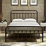 Metal Bed Frame Steel Platform with Headboard and Footboard Iron Luxury Double Board Full Dark Bronze Surface Elegant Art Bed for Family and Hotel
