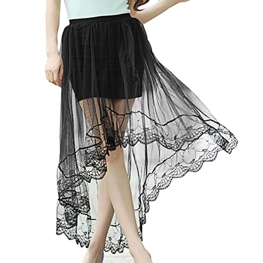 Chiffon Maxi Skirt Gothic Long Dress Gauze See Through Mesh Tulle Lace  Design for Women Girl 039619d0f62f