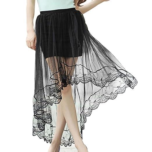 e1943d88dd8e Chiffon Maxi Skirt Gothic Long Dress Gauze See Through Mesh Tulle Lace  Design for Women Girl