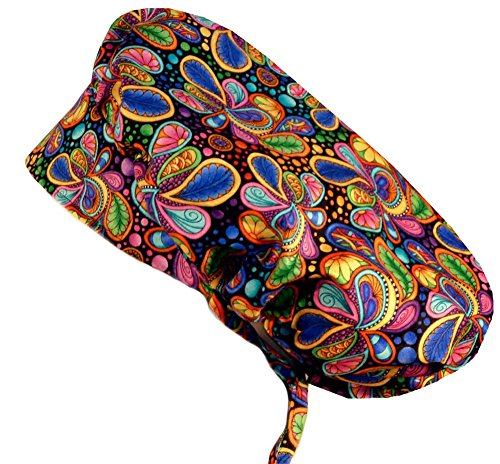 Sparkling Earth Bouffant Medical Scrub Cap - Bright Flower Paisley